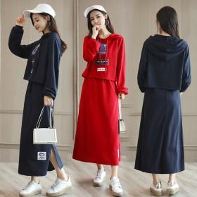 套装裙两件套秋冬女中长款韩版甜美气质宽松学生卫衣