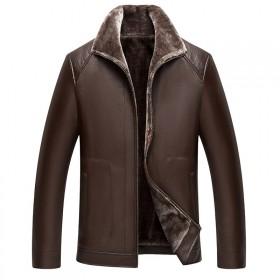 男士皮衣加绒加厚防寒保暖皮毛一体皮衣外套