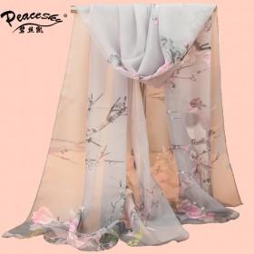 50cm160cm新款丝巾喜鹊报春图女士雪纺长丝