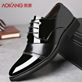 奧康真皮男士漆皮商務正裝皮鞋英倫男鞋青年婚鞋