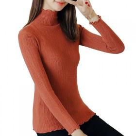 高领毛衣女修身针织衫纯色长袖上衣2017秋冬打底衫