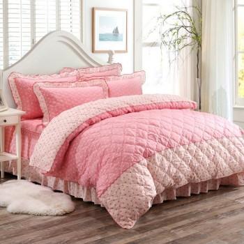 嘉韵 四件套全棉纯棉 绗缝床单床裙加厚