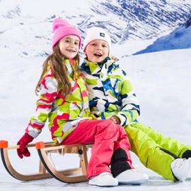 儿童滑雪服套装男女童小孩大童装冲锋衣裤外套棉袄冬季
