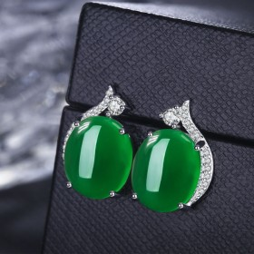 红宝石绿玛瑙耳钉女士耳饰