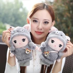 手套女冬可爱韩版卡通学生毛绒挂脖手套