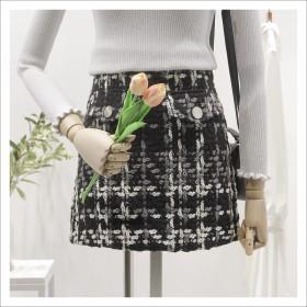 2017韩版新款百搭加厚a字包臀毛呢短裙格子半身裙