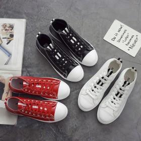 新款高帮皮面帆布鞋女韩版学生百搭原宿小白鞋街拍板鞋