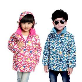 儿童冲锋衣两件套三合一迷彩印花大童小孩登山服外套冬