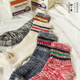 单双秋冬季日系保暖加厚学生女士袜子毛线袜羊毛袜