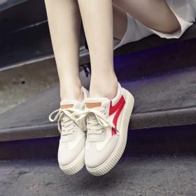 新款韩版帆布鞋女学生街拍厚底透气小白鞋原宿增高板鞋