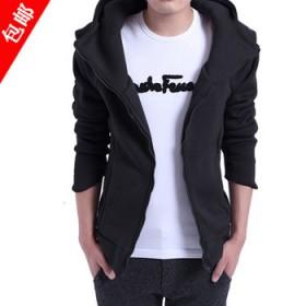 秋冬季卫衣男士薄款开衫连帽外套韩版修身型学生棒球男