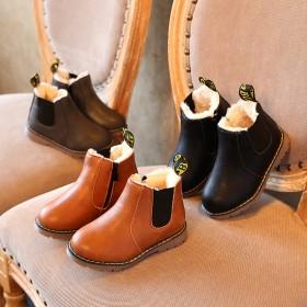 复古童鞋秋冬马丁靴真皮儿童棉鞋加绒保暖