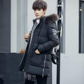 冬装棉衣中长款韩版青年毛领加厚棉袄外套