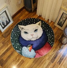 创意动物圆形地毯客厅茶几毯 卧室书房吊椅垫子