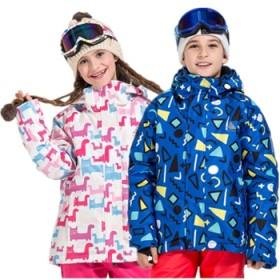 儿童滑雪服男女童迷彩冲锋衣小孩大童加厚棉服外套童装
