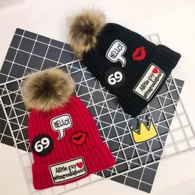 加绒加厚毛线帽儿童帽子冬季0-3岁