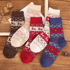 5双 日系兔羊毛袜子女中筒袜秋冬季加厚保暖