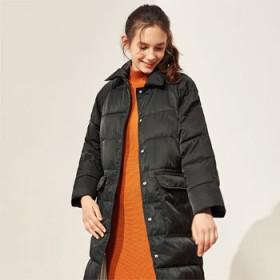 A21以纯秋冬新品女装宽松长款棉衣 立领防风保暖女