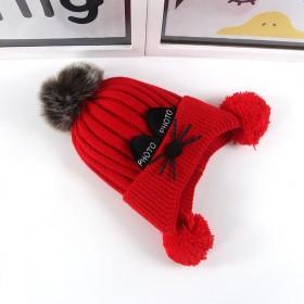 护耳加绒毛线帽可爱猫咪胡子毛球帽子儿童