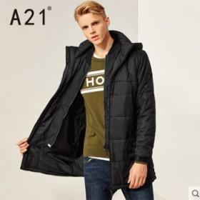A21新款男装棉衣 青年时尚保暖连帽黑色休闲百搭