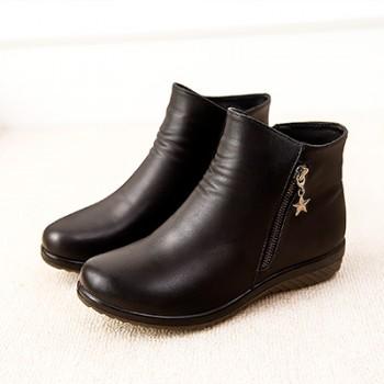 真皮妈妈大棉短靴中老年保暖冬棉鞋