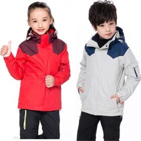 青少年儿童冲锋衣男女童亲子款小孩大童加绒加厚登山服