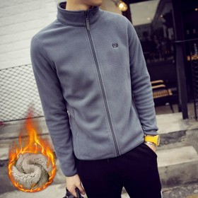 冬季卫衣男加绒加厚韩版修身立领开衫青少年外套纯色长