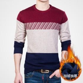 冬季新款男士毛衣圆领加绒加厚潮流男装保暖针织线衫Z