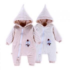 婴儿夹棉连体衣带帽男女宝宝外出棉衣加厚冬装