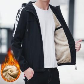 男士外套冬季加绒加厚夹克男韩版青年潮流休闲帅气连帽