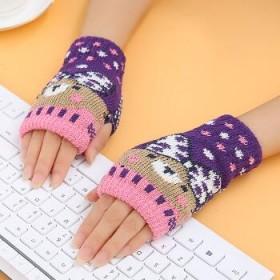 时尚半指户外运动毛线针织手套1079