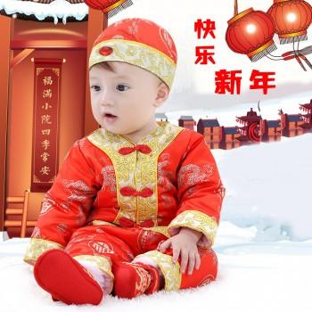 宝宝唐装冬加厚过年喜庆婴儿红色唐装满月满百周岁服男