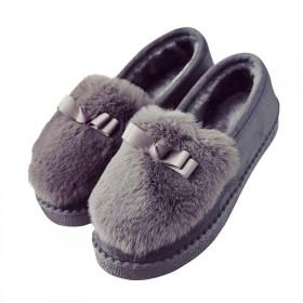 秋冬季学生保暖加绒韩版女鞋毛毛鞋平底百搭豆豆鞋