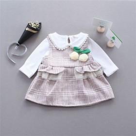 2018童装春装0-3岁女婴背心连衣裙打底衫两件套