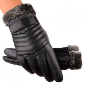 皮手套男士冬季骑行加厚加绒保暖防风防水触屏户外手套