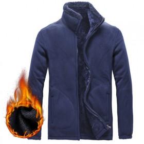 冬季卫衣男加绒加厚开衫立领韩版宽松保暖外套纯色休闲