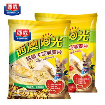 西麦西澳阳光红枣核桃牛奶燕麦片560克2袋装
