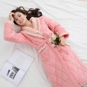 睡袍女加厚加长款珊瑚绒夹棉法兰绒