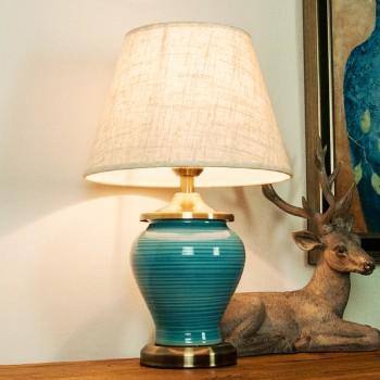 陶瓷台灯美式欧式新中式蓝色简约装饰酒店卧室床头台灯