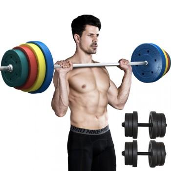杠铃套装哑铃两用组合 家用举重深蹲健身器材