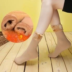 新款冬季抗寒保暖锦纶加绒加厚抗起球雪地袜女