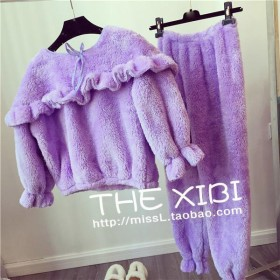 韩版秋冬毛绒绒睡衣女冬季加厚保暖荷叶边可爱家居服