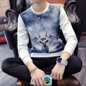 秋冬装圆领卫衣男士长袖T恤韩版太空棉大条纹薄款外套