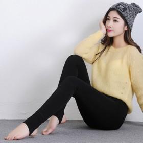 爆款秋冬保暖加厚加绒打底裤女韩版修身踩脚外穿一体裤