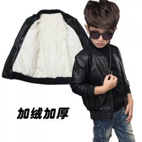 男童加绒加厚中大童保暖皮衣外套