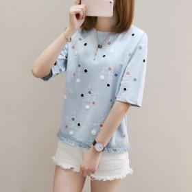 新款时尚夏季t恤衫女宽松短款流苏印花上衣休闲短袖