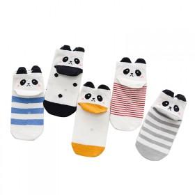 5双装儿童袜子春秋纯棉男童女童卡通立体短袜宝宝船袜