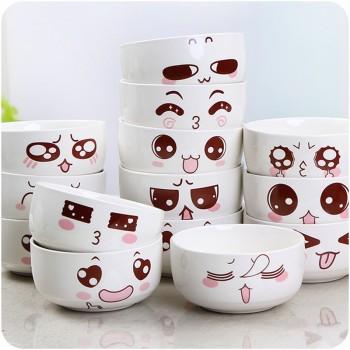 【包邮】 学生创意可爱卡通表情陶瓷碗