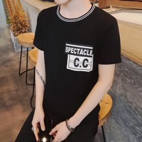 夏季新款男式时尚百搭潮流圆领印花短袖t恤青年休闲韩