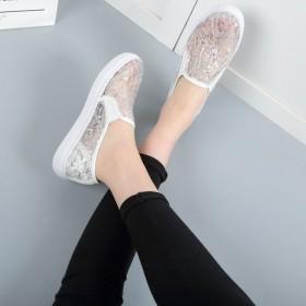 2018夏季新款乐福鞋透气网面小白鞋单鞋女低帮鞋女